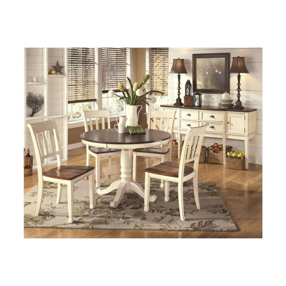Whitesburg Round Dining Table With 4 Chairs - DININGCOUNTERHEIGHT