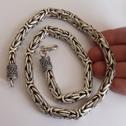 Byzantine Bali Silver Necklace - 10mm wide