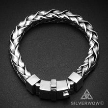 Square Braided 11mm Mens Silver Bracelet