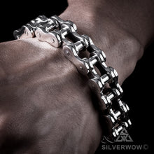 Super Heavy Mens Silver Bike Chain Bracelet