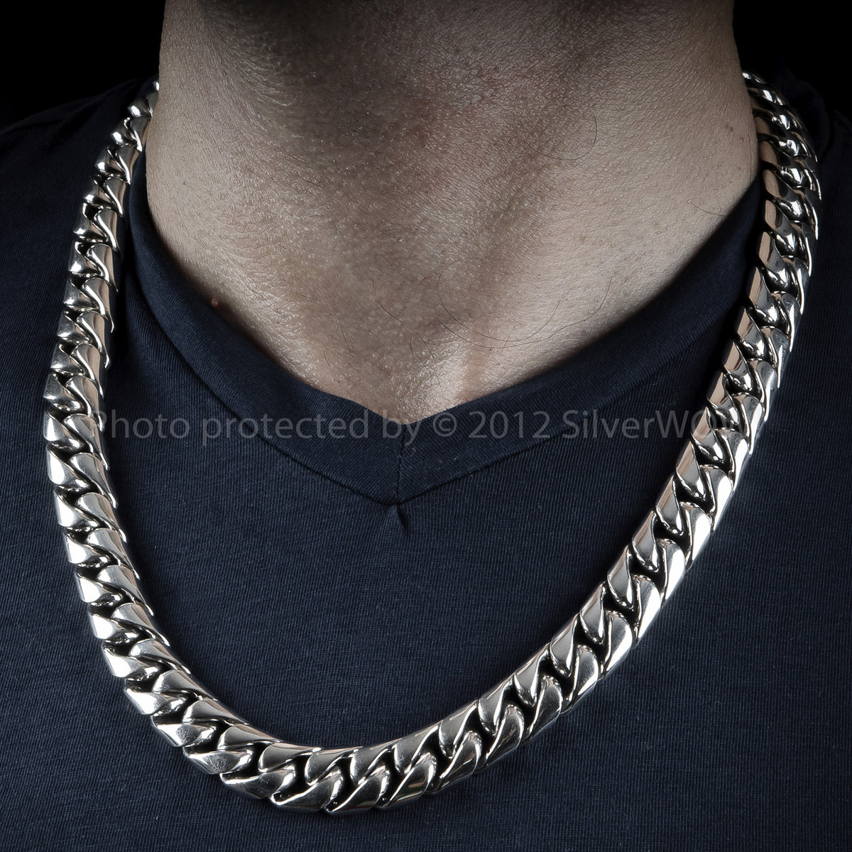 Silver Cuban Link Necklace 15mm Wide Silverwow Net