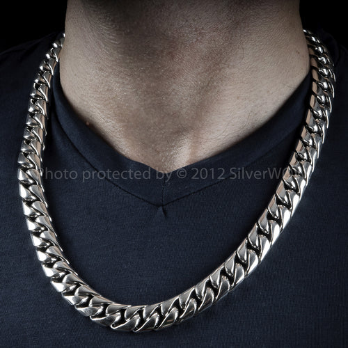 Mens Cuban Chain Link Necklace, 15mm wide, Sterling Silver