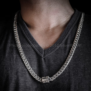15mm Silver Cuban Link Necklace Chain front 8oz - 14 oz
