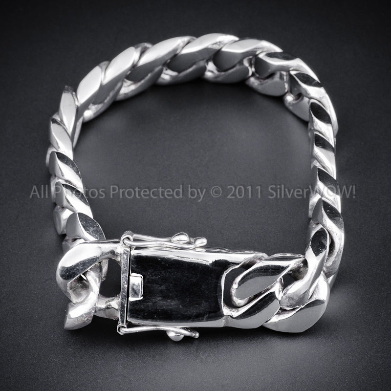 2bb80e9a819f4 15mm Heavy Curb Silver Bracelet