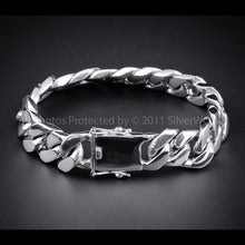 Mens Silver Curb Bracelet - 15mm Wide 110 grams+