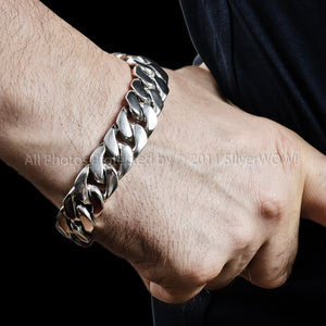 15mm Heavy Curb Silver Bracelet