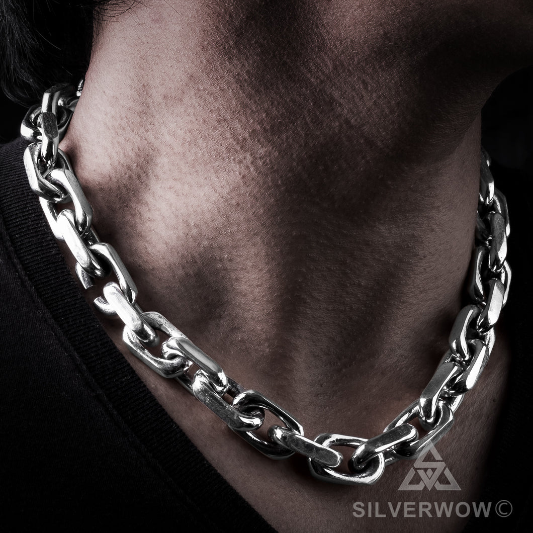 Biker Chain Link Necklace 15mm side neck