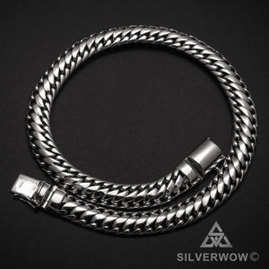Mens Woven Snake 15mm Necklace Chain