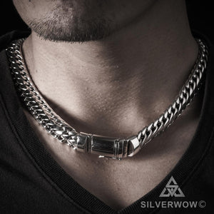 Woven Snake Mens Necklace 15mm wide
