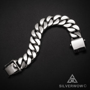Curb Bracelet men 20mm flat box clasp