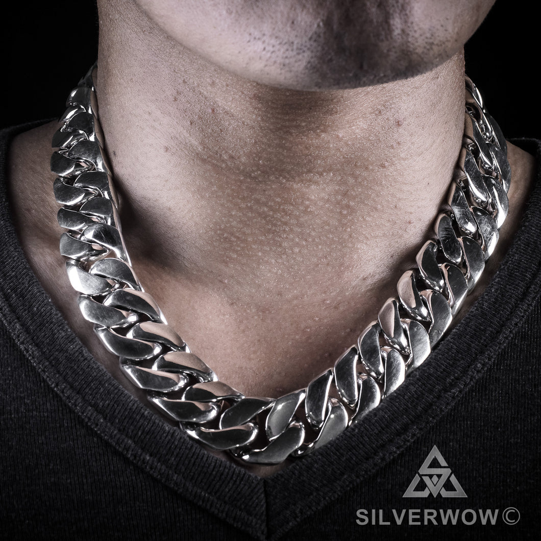 20mm Heavy Curb Silver Necklace Chain