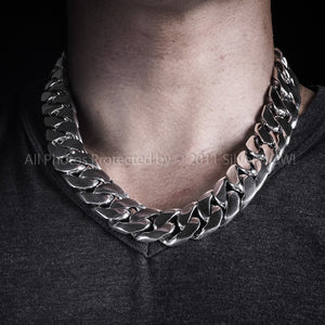 mens chunky silver chain choker necklace