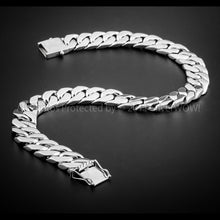 mens chunky silver chain necklace 20mm flat