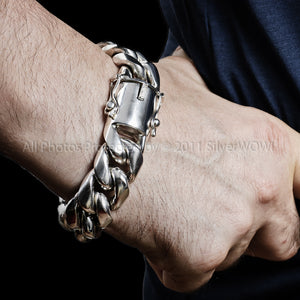 silver cuban link bracelet x 20mm Men