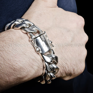 silver cuban link bracelet 20mm wide