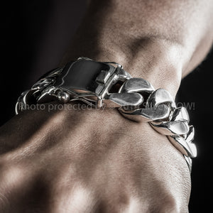 20mm Heavy Curb Silver Mens Bracelet wrist