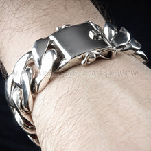 Mens Silver Curb Bracelet 25mm Wide, 10 oz