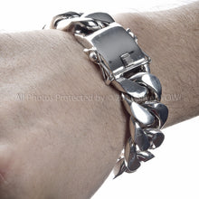 25mm Mens Silver Curb Bracelet
