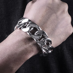 Mens Silver Figaro Bracelet 25mm Wide 9oz Plus