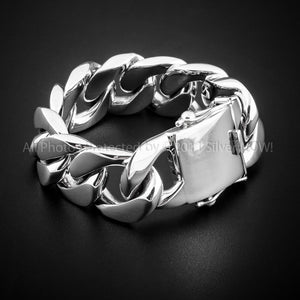 Mens Silver Figaro Bracelet 25mm Wide 265 grams