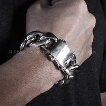 Mens Silver Figaro Bracelet 25mm Wide