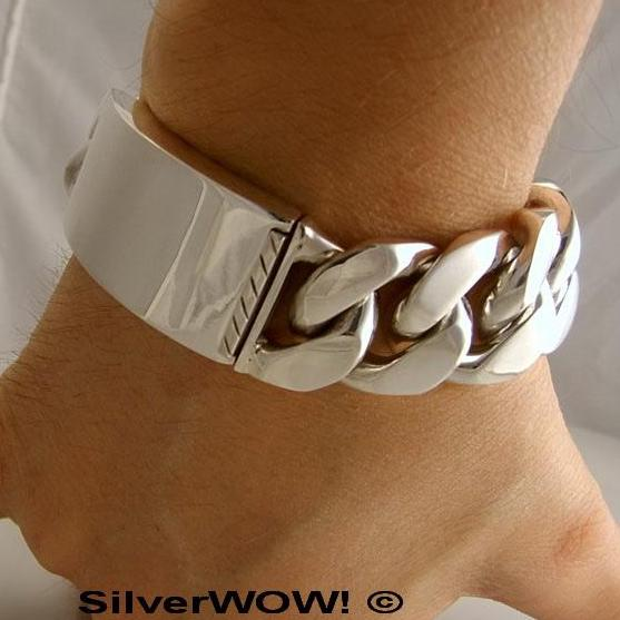 Heavy Mens Silver ID Bracelet, 25mm Wide