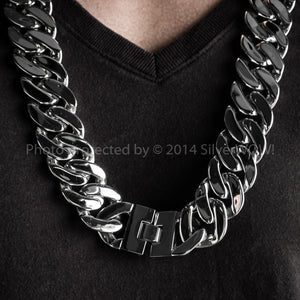 Mens Stainless Steel Necklace Chain Chunky 25mm wide