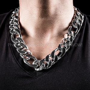25mm Silver Figaro Chain Necklace