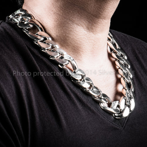 Silver Figaro Chain Necklace 25mm Wide