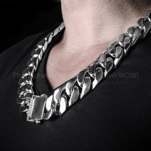 25mm Heavy Curb Mens Silver Necklace Chain