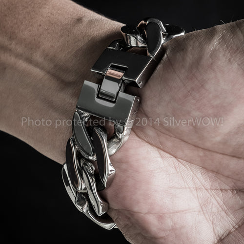 Chunky Mens Stainless Steel Bracelet 25mm Wide