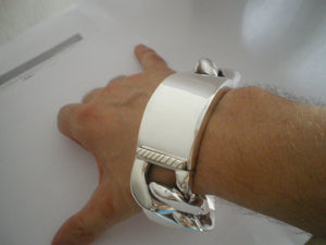 35mm wide Silver ID Mens bracelet Almost 20 oz
