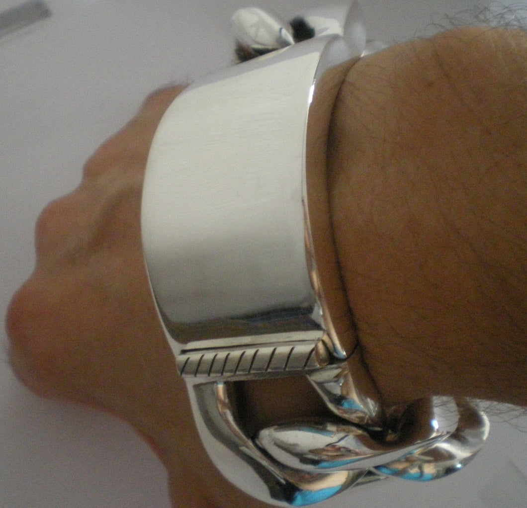 Huge 35mm Wide Mens Silver ID Bracelet