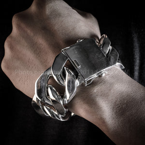 35mm Wide, Mens Silver Curb Bracelet.