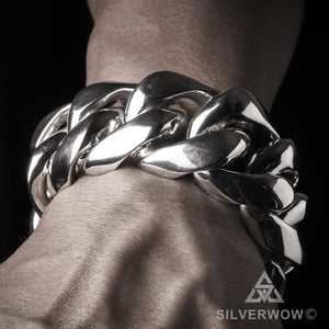 Big, Mens 35mm Silver, Cuban Link Bracelet, on Hand