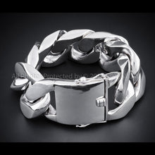 40mm Huge Mens Silver Curb Bracelet