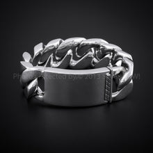 mens silver id bracelet Chunky 25mm