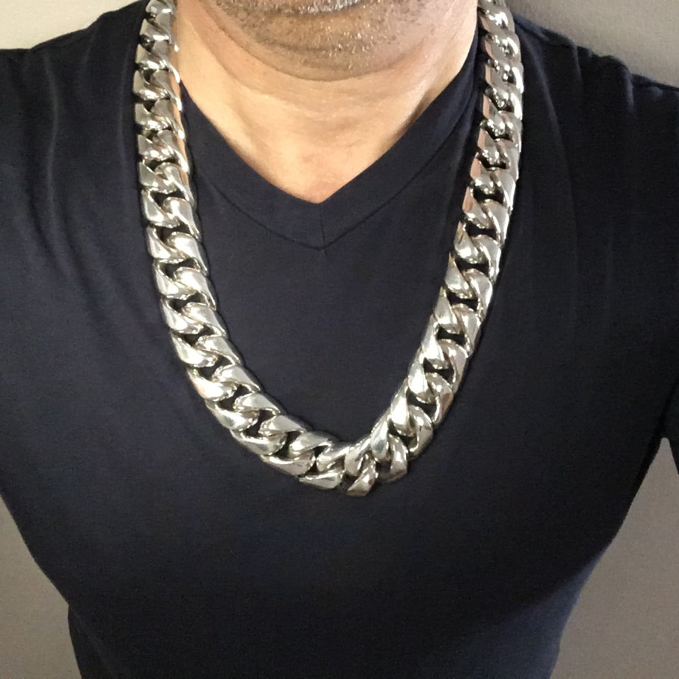 Big, Chunky, 25mm Silver Cuban Link Chain 28 oz