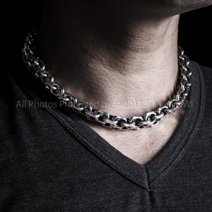 Heavy mens silver choker Necklace, 15mm wide, KBB1, Box Clasp