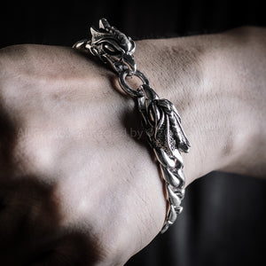Eagle Head Mens Silver Bracelet Wrist