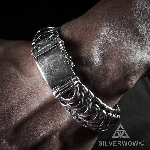 Mens Unique Silver Bracelet Agung Design