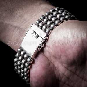 Ball Curb Mens silver Bracelet x 23mm, box fastener