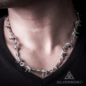 Mens Barbed Wire Silver Necklace Chain s-hook clasp