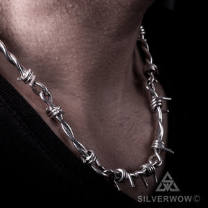 Mens Barb Wire Silver Necklace Chain s-hook clasp