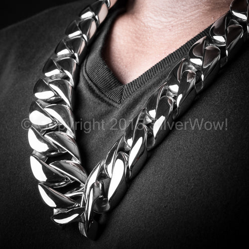 Huge, Stainless Steel Mens Necklace, 30mm wide