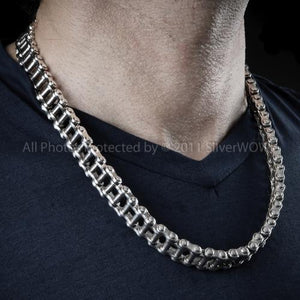 Mens, Bike Chain, Silver Necklace Chain