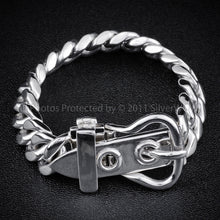 Silver Buckle Mens Bracelet, 15mm,  Fastened
