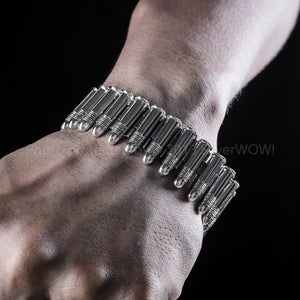 Silver Mens Buckle Bracelet on wrist