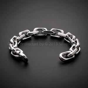 12mm Thick Mens Chain Link Silver Bracelet Side