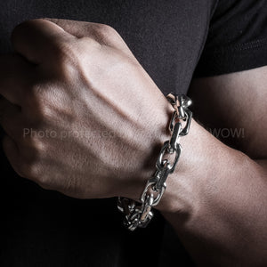 12mm Thick Mens Chain Link Silver Bracelet Wrist